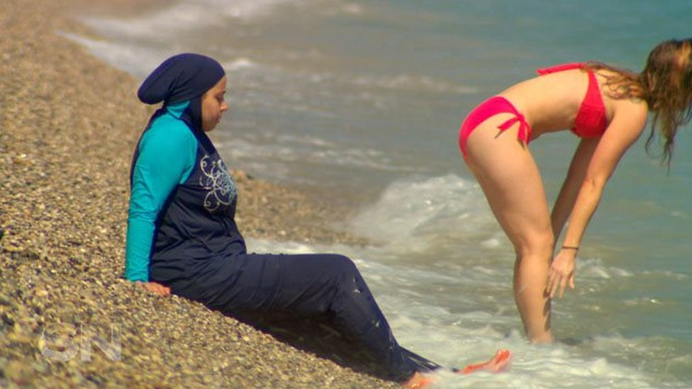 Ms Alshelh at the French Riviera where the Burkini ban has been lifted