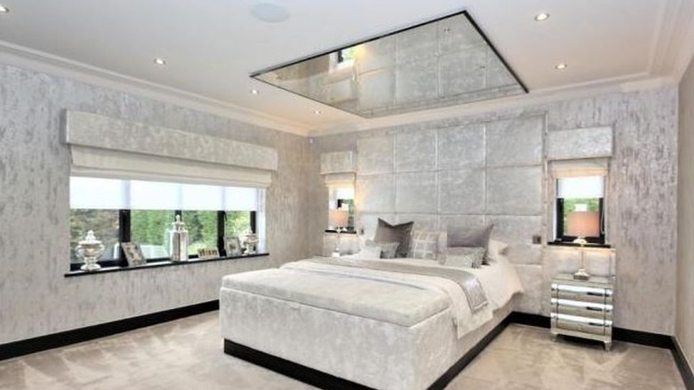 Mirrored bedroom ceiling at detached house in Chigwell