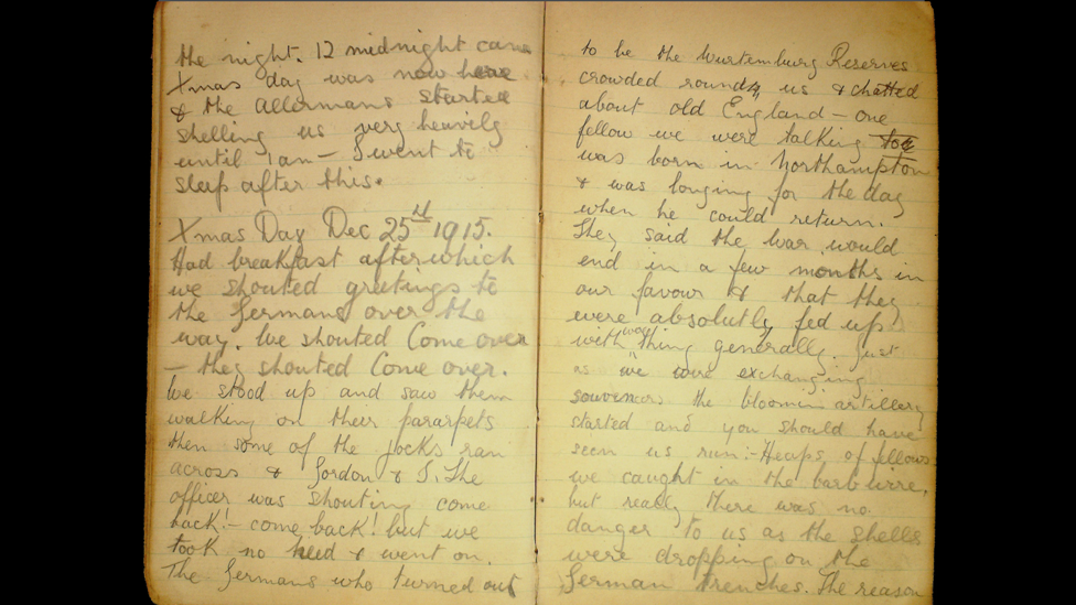 """Pte Robert Keating diary extract: """"Xmas Day had breakfast after which we shouted greetings to the German's over the way..."""""""