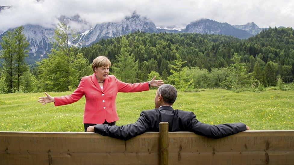 Merkel y el expresidente americano Barack Obama.