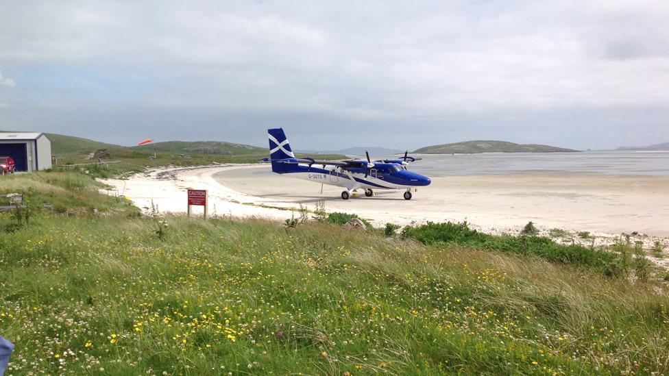 Plane on the beach on Barra