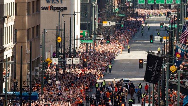 Over a million Broncos fans pack Denver