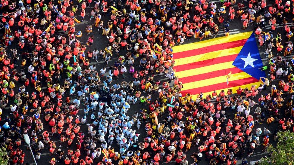 Демонстранти з прапором Каталонії