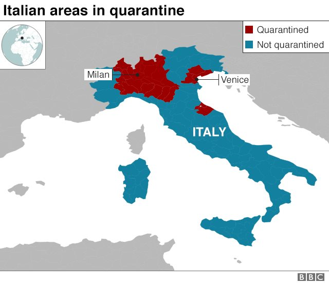 Kawasan karantina di Italia