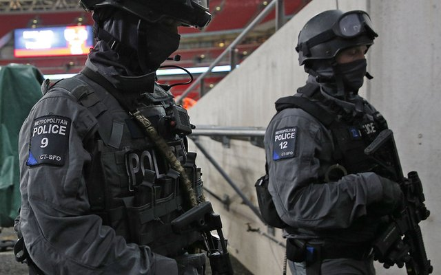 Armed police officer at Wembley Stadium