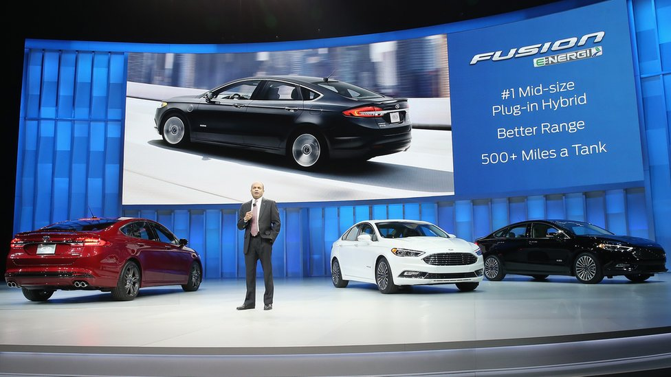 Ford's Raj Nair executive vice president, product development, and chief technical office, introduces the new Fusion line up at Detroit