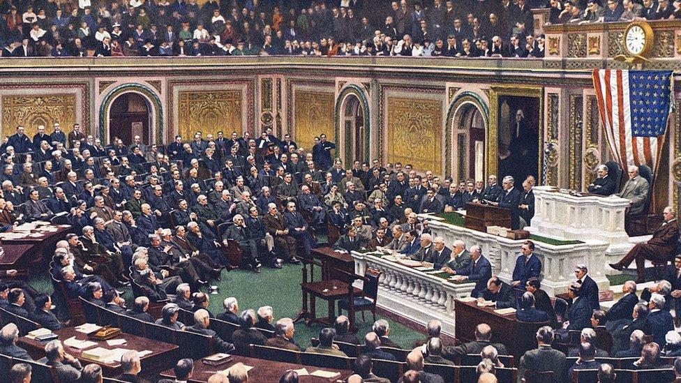 El presidente Woodrow Wilson en el Congreso, el día de la Declaración de Guerra a Alemania.