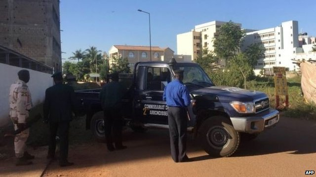 Security staff outside the Radisson Blu Hotel in Mali