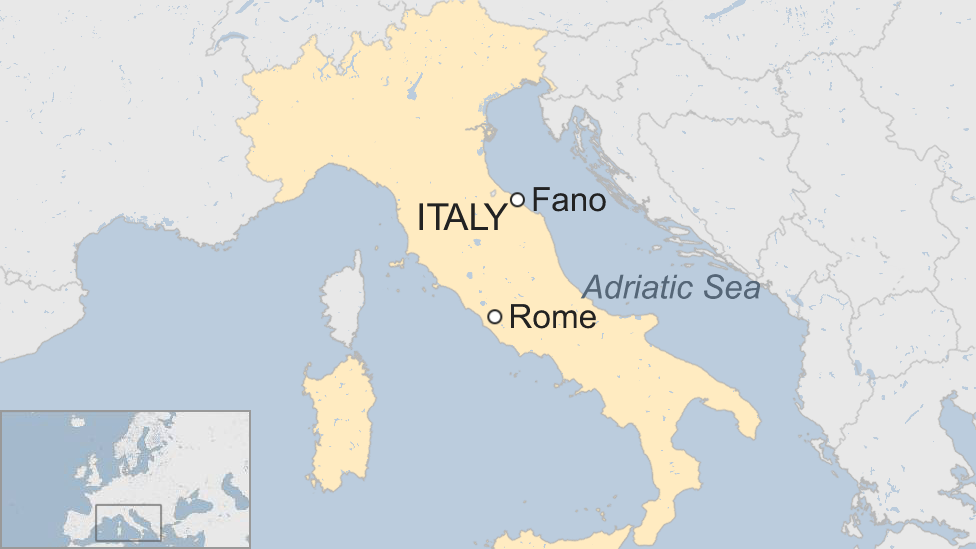 Map of Fano and Rome in Italy