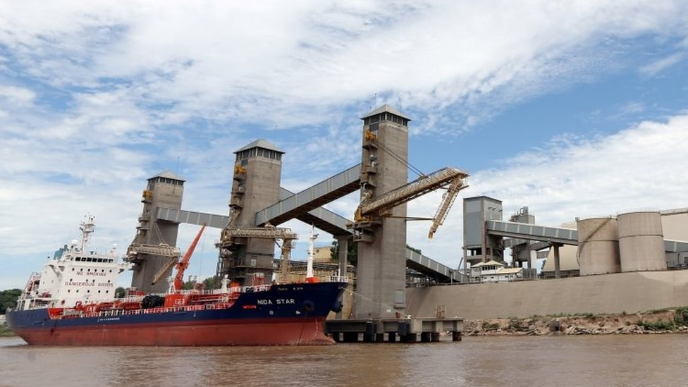 Grain is loaded aboard ships on a port on the Parana river near Rosario, Argentina, January 31, 2017.