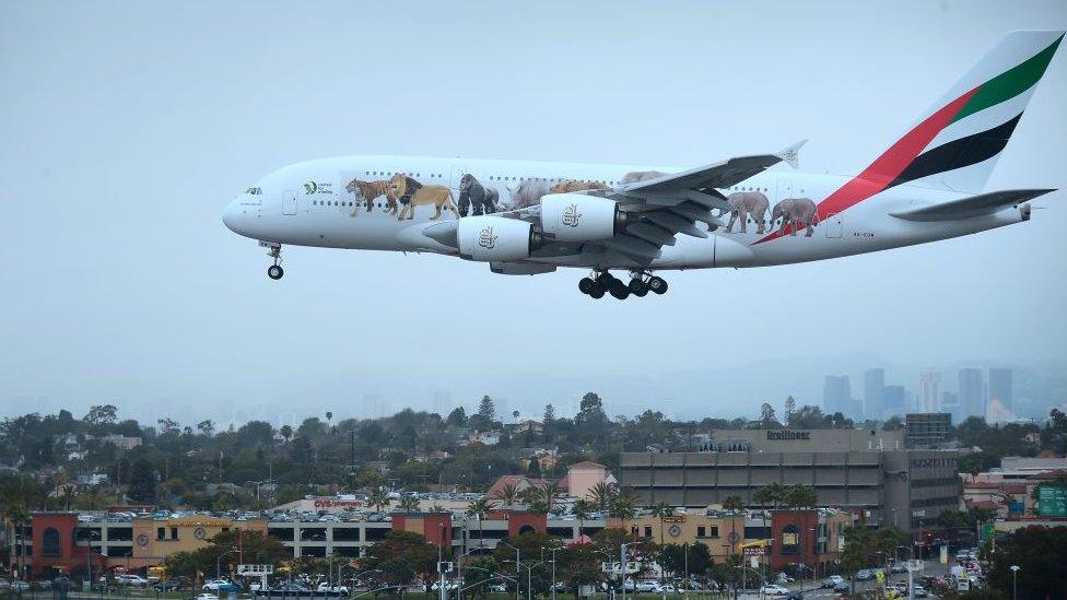 Emirates plane lands at LA aiport