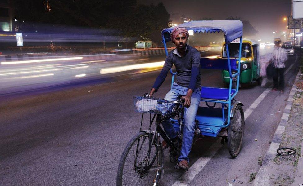 Jai Chand Jadhav on his rickshaw