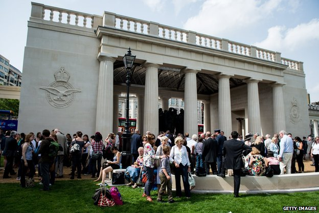 Bomber Command Memorial after the unveiling ceremony in Green Park on June 28 2012 in London