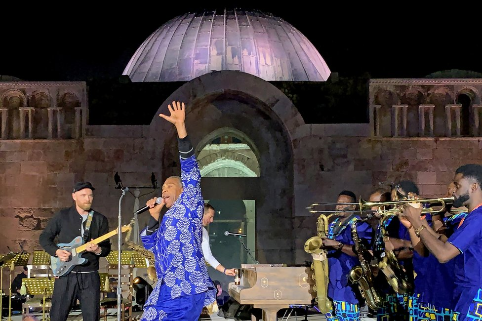 Femi Kuti and British band Coldplay performing in Amman, Jordan - Saturday 23 November 2019