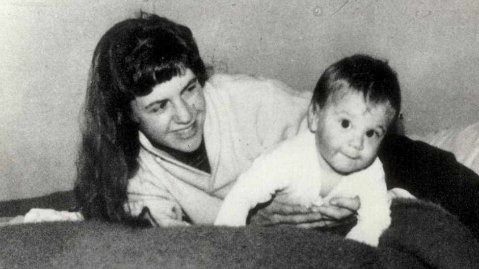 Sylvia Plath with son Nicholas as a baby