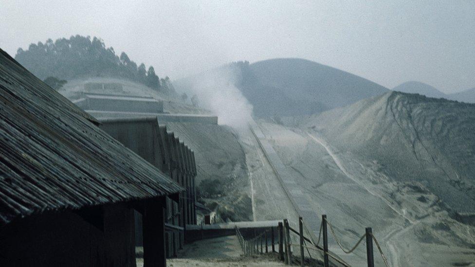 La mina Jeffrey en operación en la década de 1960
