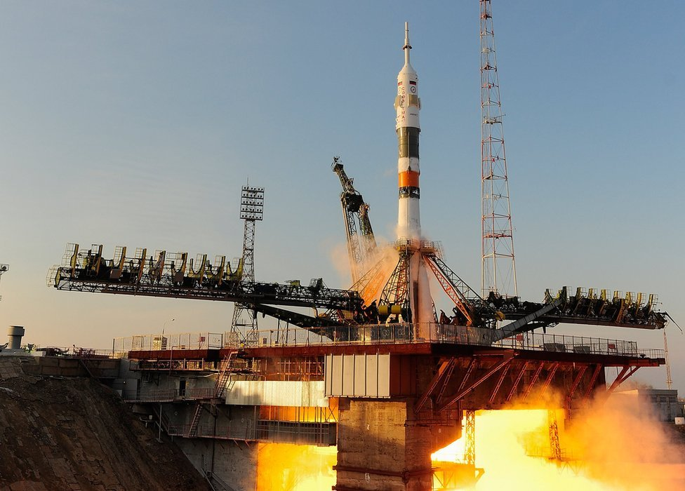 The Soyuz spacecraft taking off - handout image supplied by the European Space Agency (ESA)