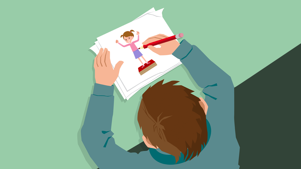 Drawing of child writing