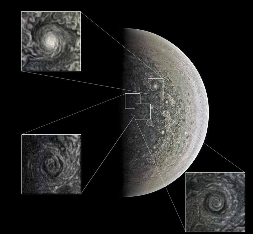 JunoCam has revealed swirling cyclones at the poles (c) NASA/SwRI/MSSS/Roman Tkachenko