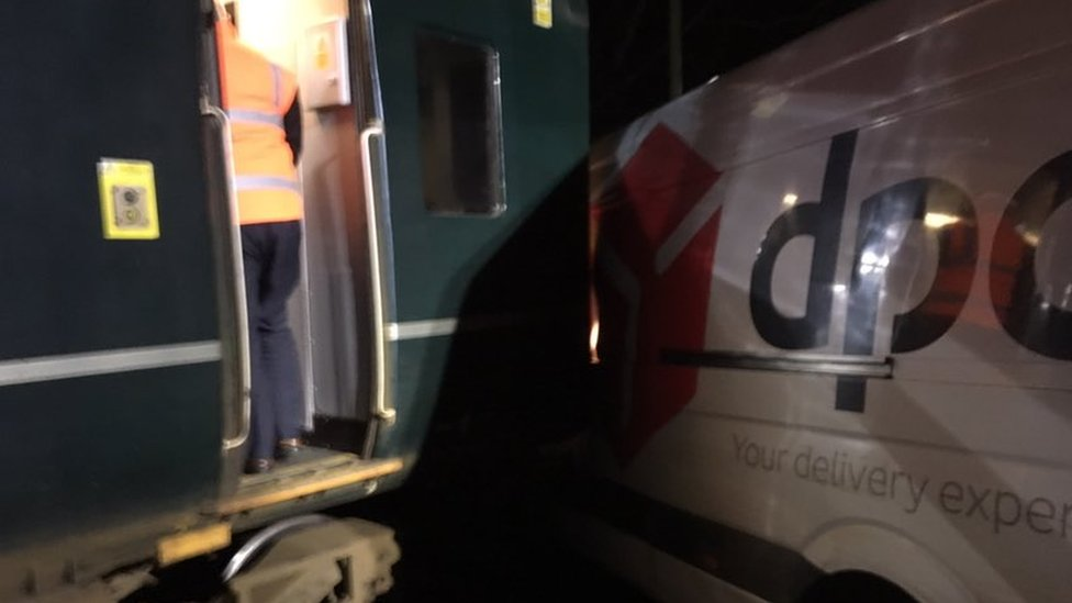 Train and van crossing crash closes line in Cornwall