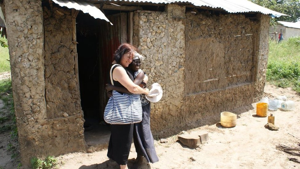 Caroline Coster in Kenya with Sidi, one of the women her charity helps