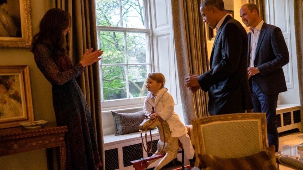 Prince George meeting Barack Obama