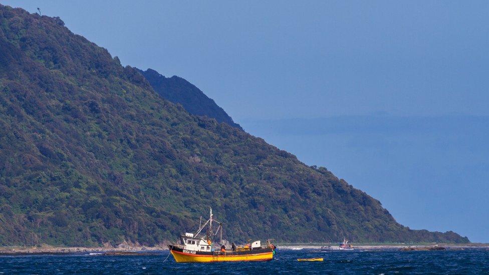 Barco frente a la isla