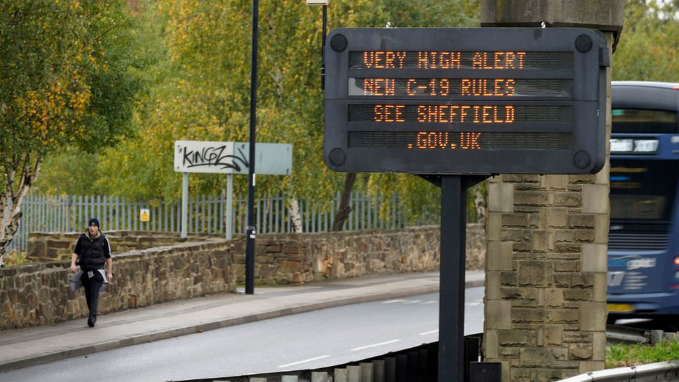 A sign in Sheffield warning of the very high Covid alert