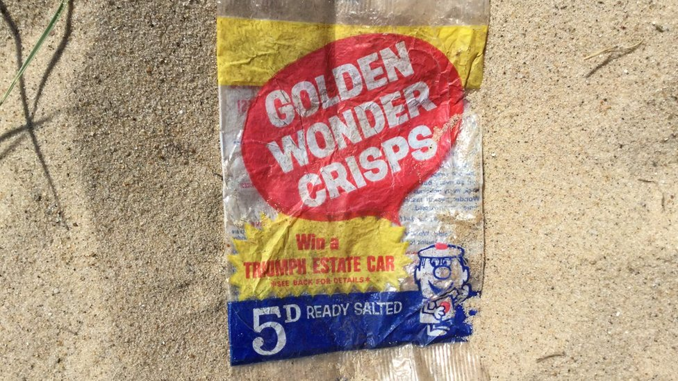 Crisp packet from 1967 found on Caister beach