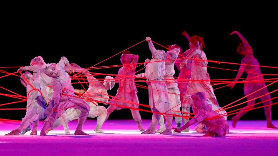 Performers dance during the Opening Ceremony of the Tokyo 2020 Olympic Games at Olympic Stadium on July 23, 2021 in Tokyo, Japan.