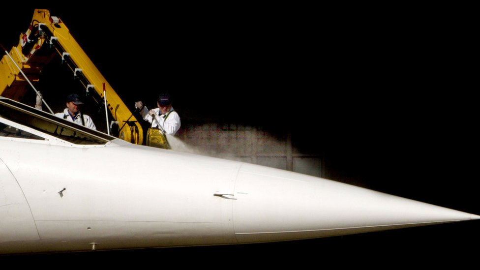 Concorde having a wash