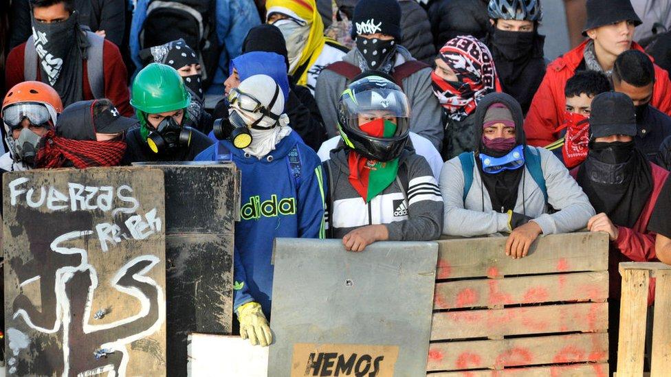 Manifestantes en Bogotá