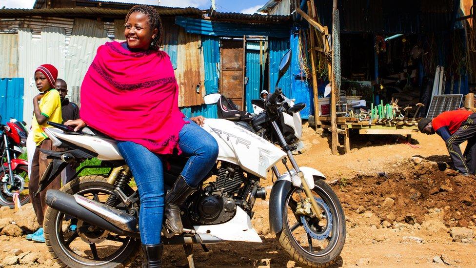 Kenyan biker Sylvia Thiong'o