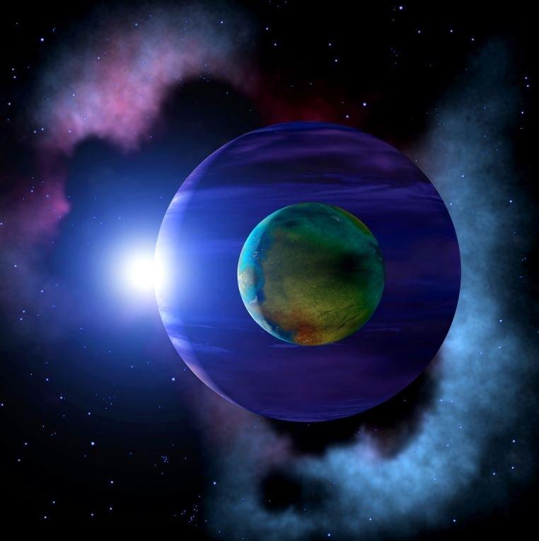 Un exoplaneta y su luna