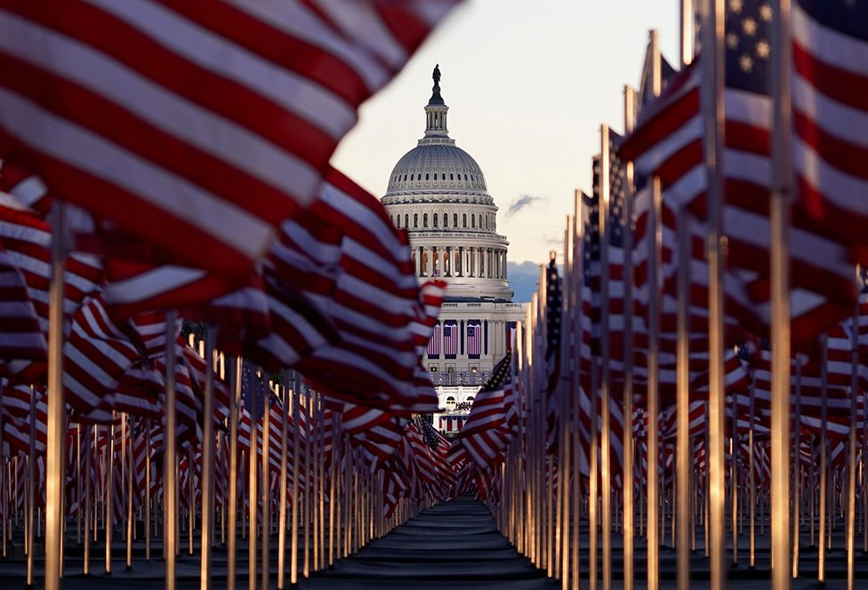 "The ""Field of flags"" is seen on the National Mall in front of the U.S. Capitol building ahead of inauguration ceremonies for President-elect Joe Biden in Washington DC. 20 January 20, 2021."