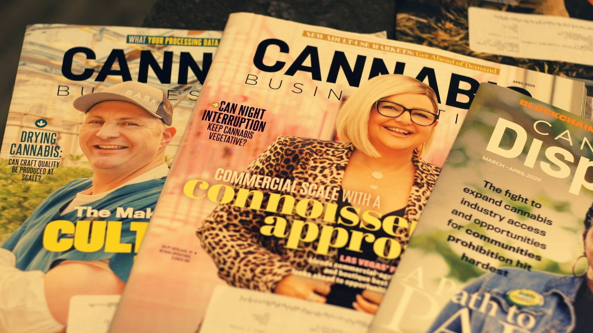 Cannabis magazines are on display in the office of Matt Stacy