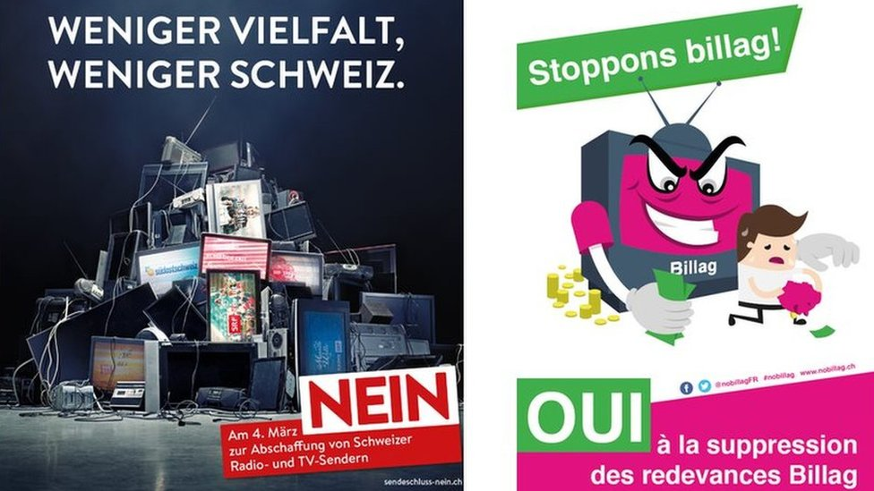 Posters against and in favour of axing the Swiss TV license