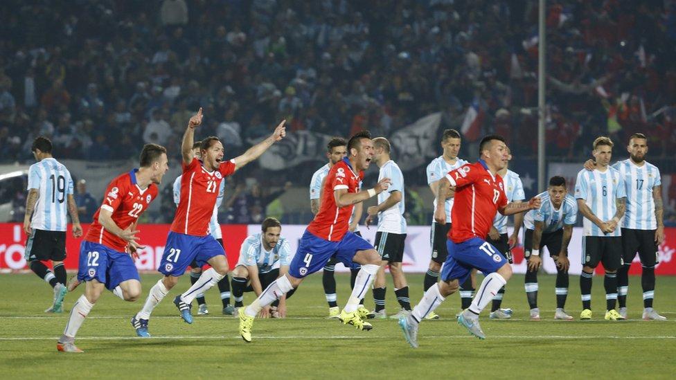 Chile celebra su triunfo frente Argentina en la Copa América de 2015.