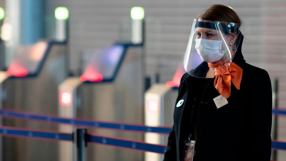 Airline employee wearing a face mask