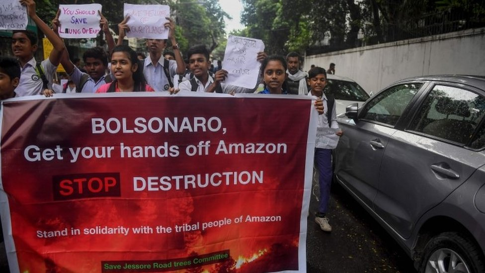 Students protest near the Consulate of Brazil in India