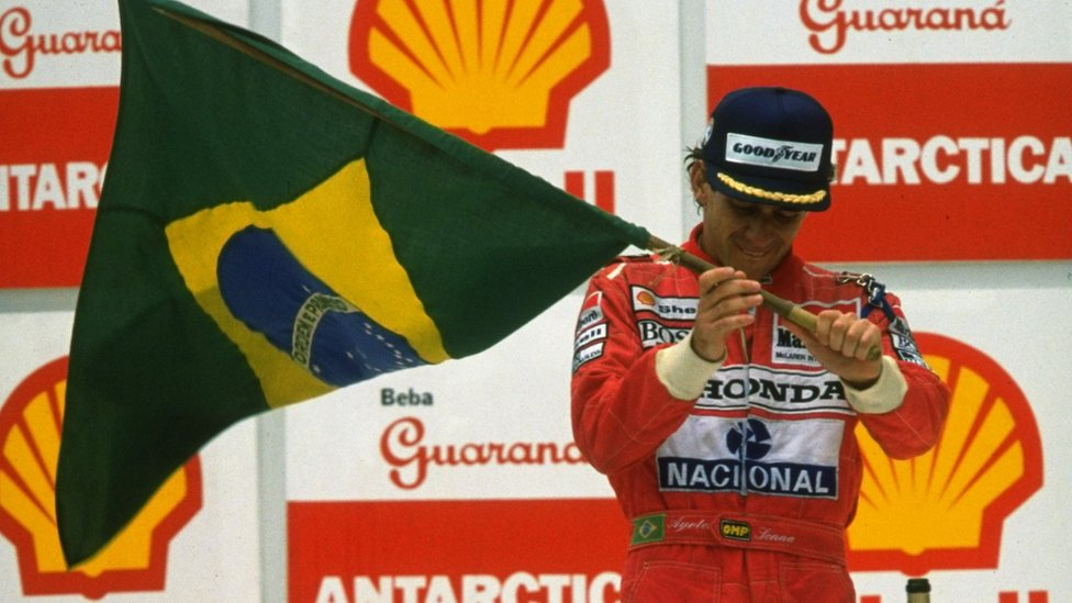 Ayrton Senna with Brazilian flag