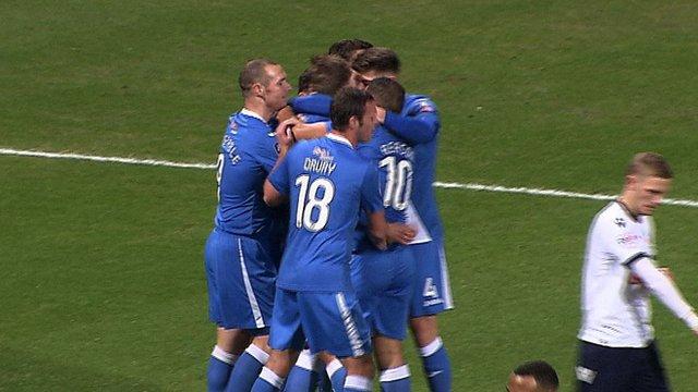 Joe Partington celebrates his goal for Eastleigh