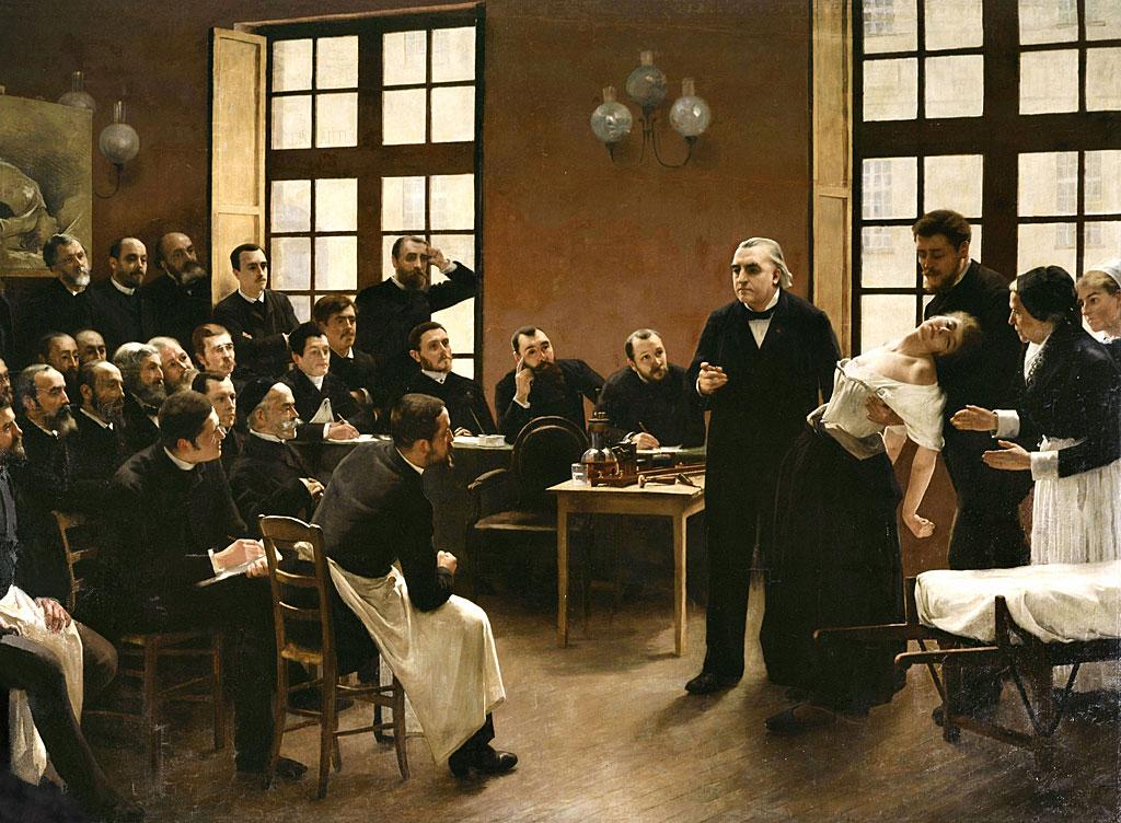 Brouillet Pierre Andre (1857-1914), escuela de francés, una lección clínica de Docter Charcot en La Salpêtrière, siglo XIX, París, Musée d'Histoire de la medecine.