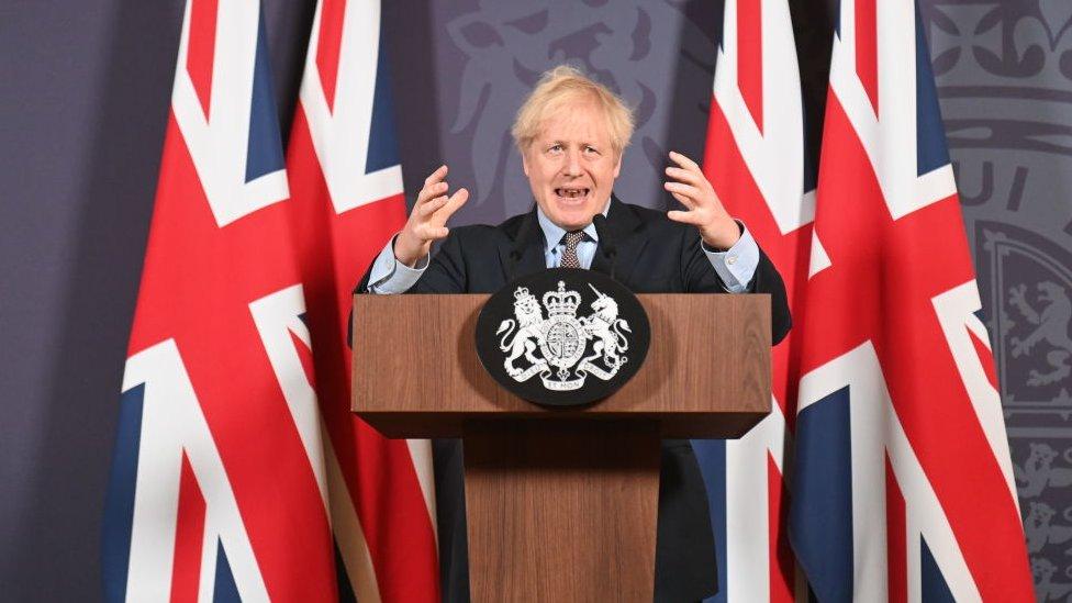 Boris Johnson al anunciar el acuerdo.