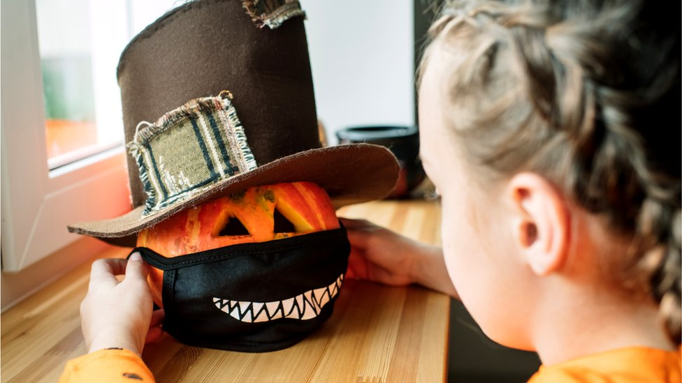 Pumpkin with face mask