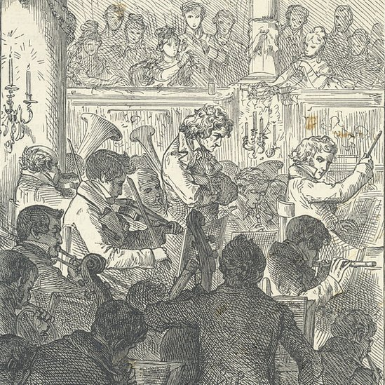 Grabado de Beethoven en el escenario durante la interpretación de la Novena Sinfonía