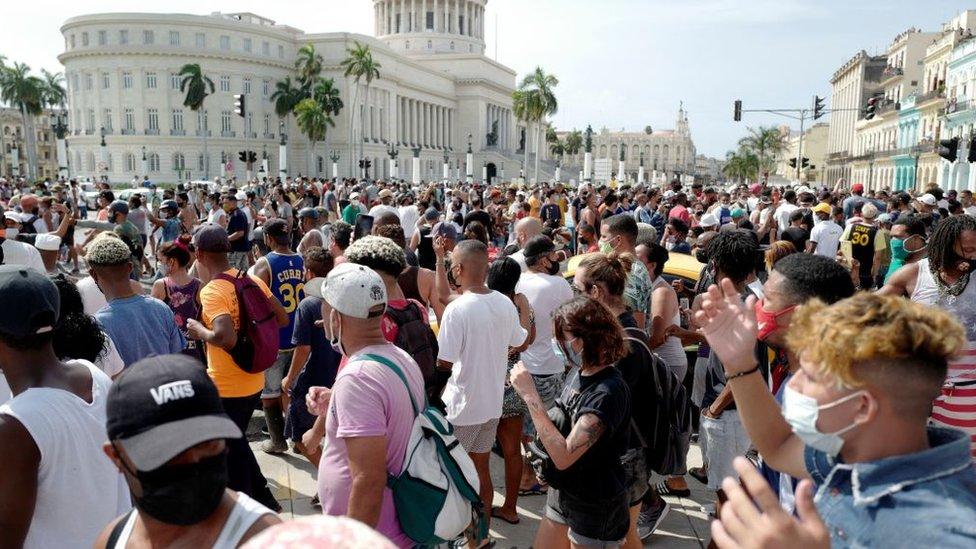 Protesta en La Habana.