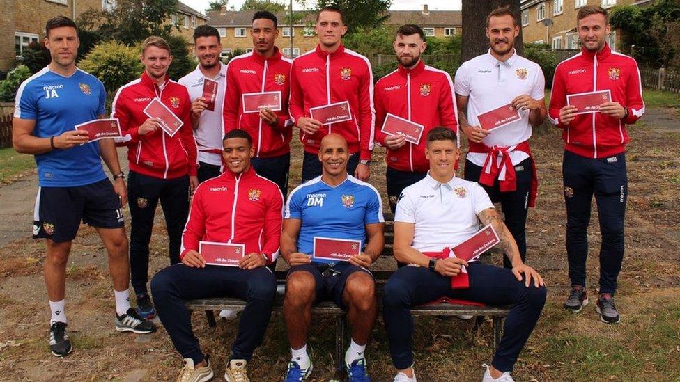 Stevenage FC footballers in door-to-door support plea