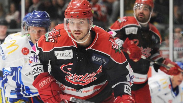 Man of the match Joey Martin in action for Cardiff Devils against Coventry Blaze in the Challenge Cup on 24th September 2016