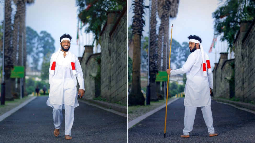 Two pictures of men in Oromo clothes